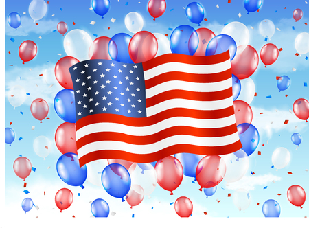united state of america flag with balloon on sky