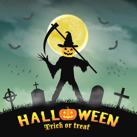 halloween silhouette pumpkin killer in night graveyard Illustration