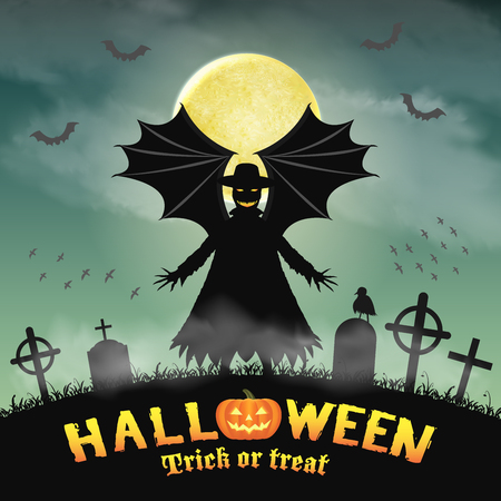 halloween silhouette scary vampire  in night graveyard Illustration