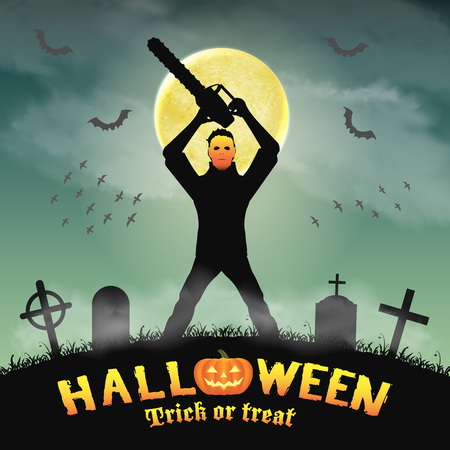 psycho serial killer with mask and chainsaw in night graveyard Ilustracja