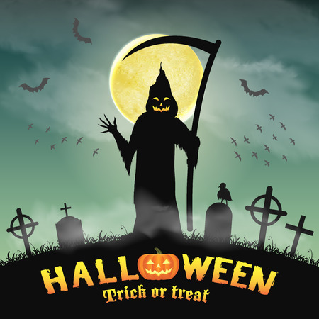 horrid: Halloween silhouette grim reaper in night graveyard Illustration