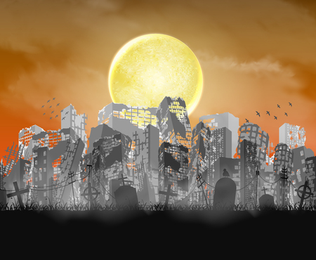 Ruined city building  silhouette with moon and red sky Illustration