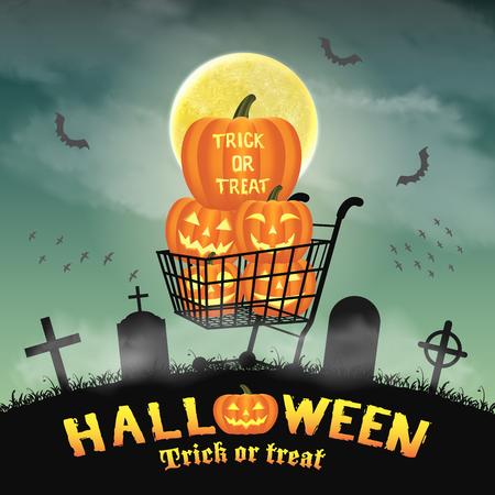silhouette pumpkin on shopping cart in graveyard