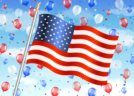 real state: united states of america flag with balloon on sky