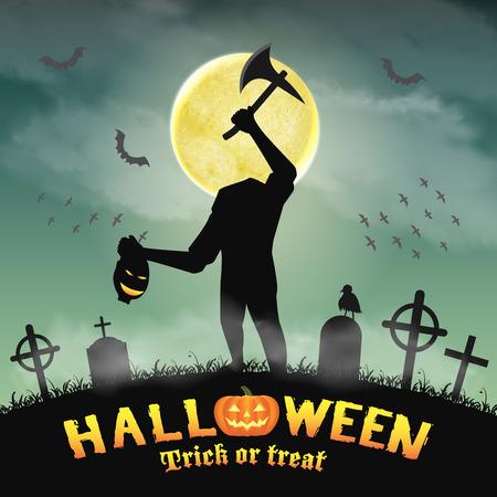 halloween silhouette headless monster in graveyard Illustration