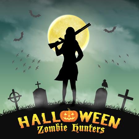 infantry: halloween zombie hunter with shotgun in graveyard