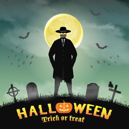Un hombre invisible de Halloween en un cementerio de la noche.