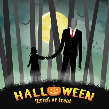 Halloween delgado hombre alto con la chica en el bosque