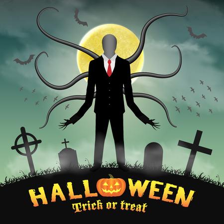 A halloween slender tall man in a night graveyard.