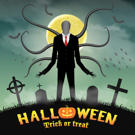 terrible: A halloween slender tall man in a night graveyard.