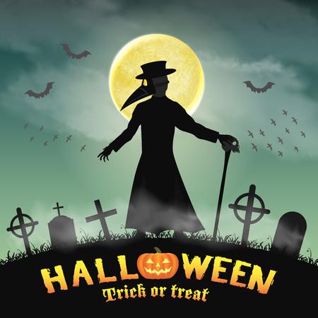 A halloween plague doctor in a night graveyard.
