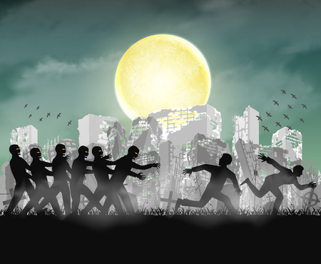 human running from zombie at night ruined city