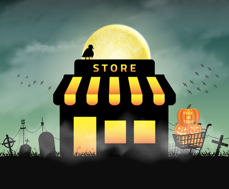 halloween store shop open in night  graveyard