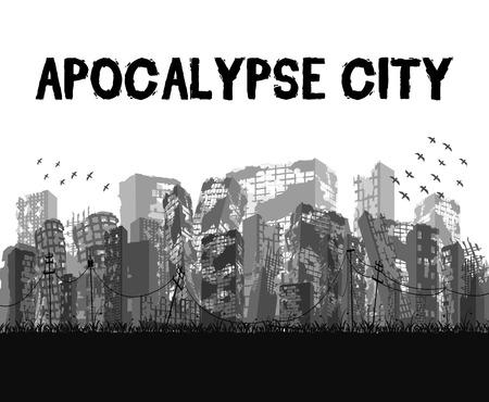 Silhouette ruined apocalypse city building vector