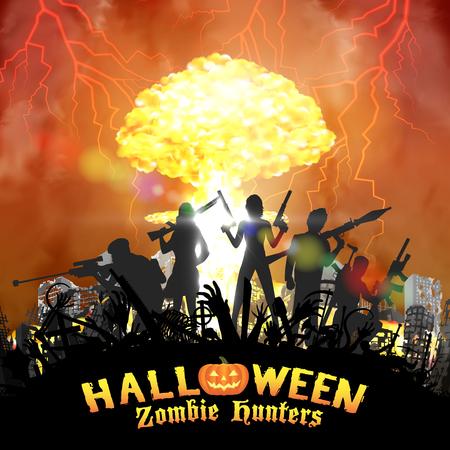 핵폭탄 배경을 가진 좀비 사냥꾼 그룹 일러스트