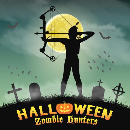 halloween archer zombie hunter in night graveyard