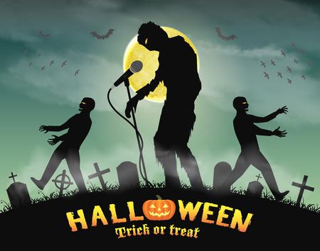halloween zombie singing party in night graveyard