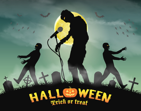 halloween zombie singing party in night graveyard Stock Vector - 81302889