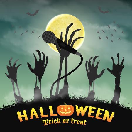 Halloween karaoke micrófono esqueleto zombie mano Foto de archivo - 81302892
