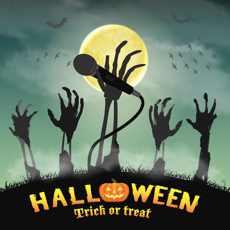 halloween karaoke microphone skeleton zombie hand Stock Vector - 81302892