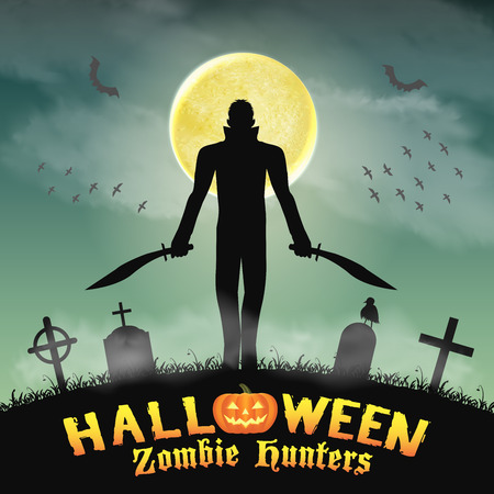 halloween zombie hunter with knife  in graveyard