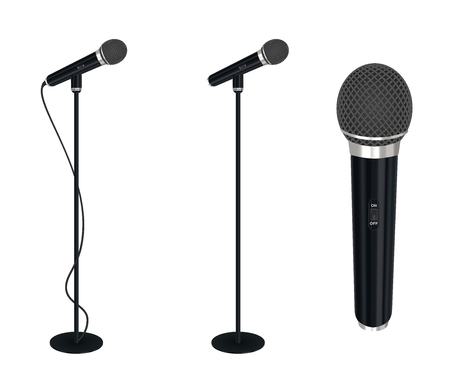 microphone with stand vector on white background