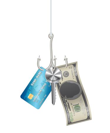Hook phishing credit card password key banknote Illustration