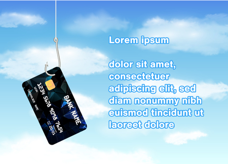bank robber: Fishing hook phishing credit card with sky background Illustration