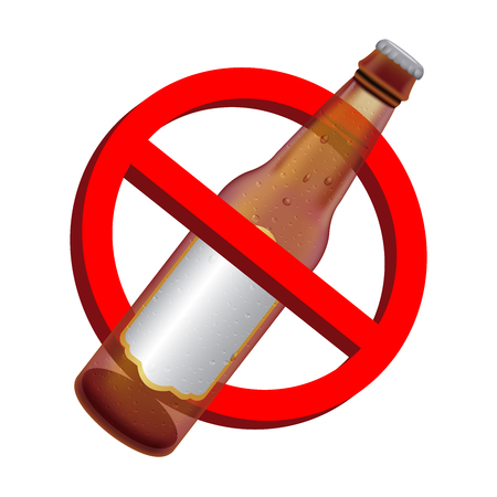 Prohibition signs with alcohol beer drink bottle Illustration