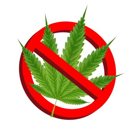Prohibition signs with green marijuana leaf vector Illustration