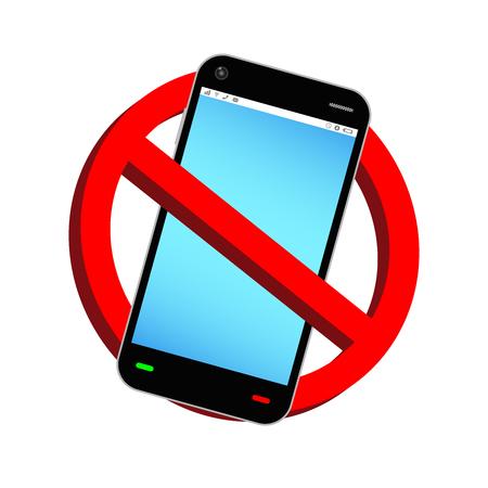 携帯電話禁止の符号ベクトルを使用しないでください。  イラスト・ベクター素材