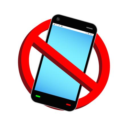 Do not use phone prohibition sign vector Çizim