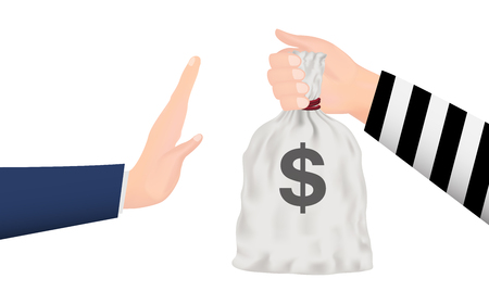 denial: Hand rejecting money bag from thief hand Illustration