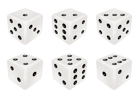 A set of a white dice three dimensions Illustration