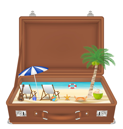 A summer concept illustration on suitcase open with sea and beach scene in side