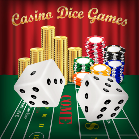 dice games with white dice and casino chip