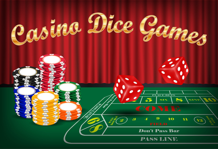 dice games with red dice and casino chip Vector Illustration