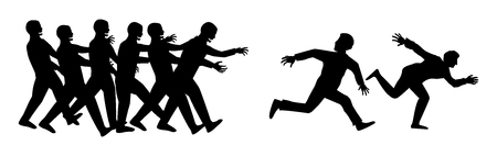silhouette human run escape from zombies group Vectores