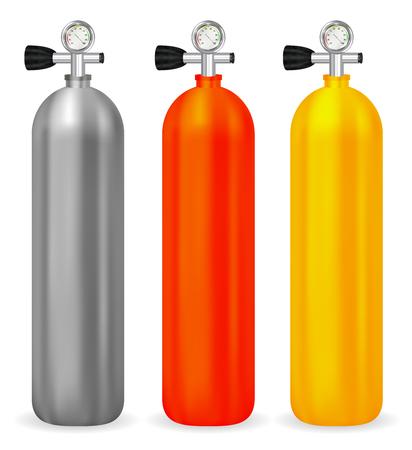 Echte gas tank met meter op een witte achtergrond Stock Illustratie