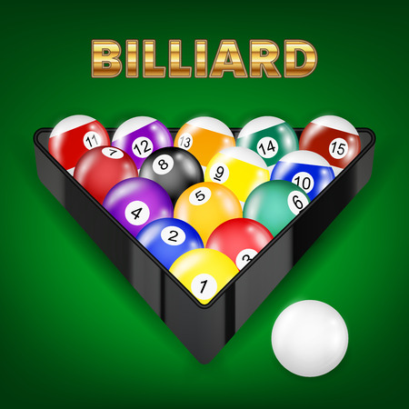 Billiard set in a green