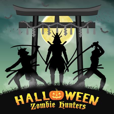 samurai zombie hunter with japan style temple gate