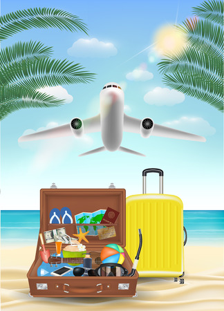 air plane flying to sea with beach travel object Illustration