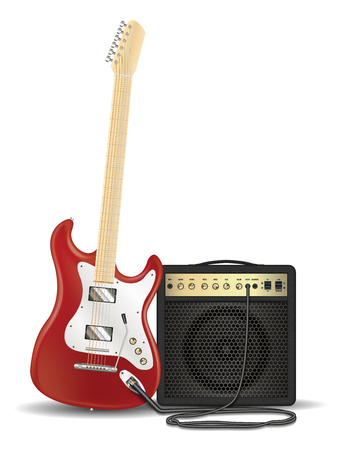 volume knob: Real red electric guitar with guitar amplifier