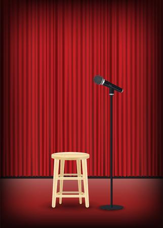 Ein Mikrofon mit rundem Stuhl auf Bühnenshow.
