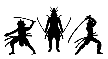 A three samurai stance silhouette a white background.