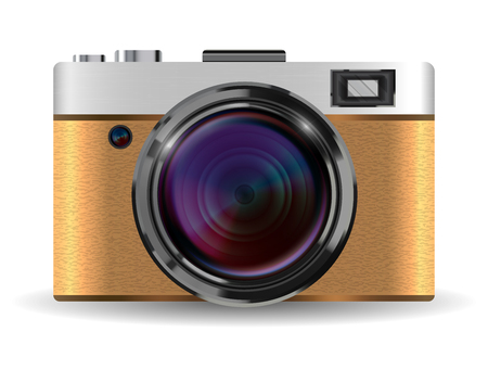Echte vintage bruine compacte pocket camera vector