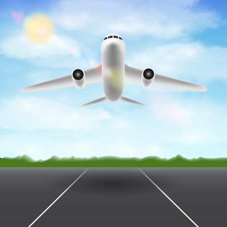 white airplane flying in sky over airport runway Illustration