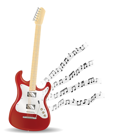 red electric guitar with floating music note