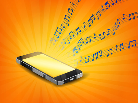 music lyrics: smartphone playing music with floating sample random music note not match any song
