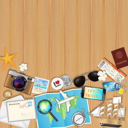L'oggetto tropicale di viaggio ha messo sull'illustrazione di vettore del fondo del bordo di legno. Archivio Fotografico - 84743622